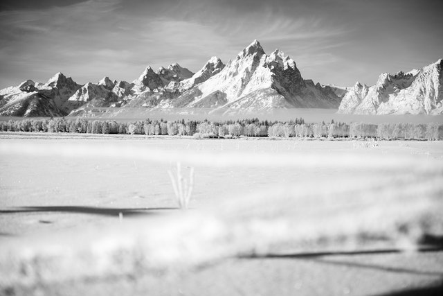Grand Teton seen through a frost-covered fence at Elk Ranch Flats.