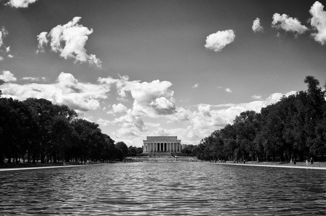 The Lincoln Memorial across the newly-restored Reflecting Pool.