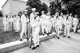 The Navy Ceremonial Guard at ease on the grounds of the National Gallery of Art in Washington, DC.