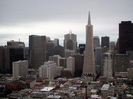 The Transamerica Pyramid and part of the San Francisco skyline, from Coit Tower on Telegraph Hill