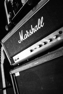 Close-up of a Marshall amp at London Bridge Studio in Shoreline, Washington.