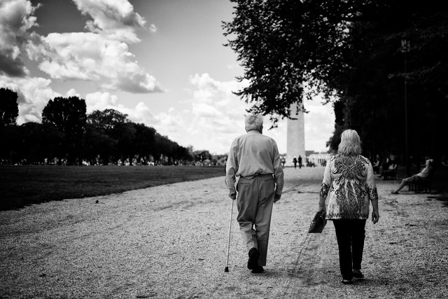 An old couple walking on the National Mall.