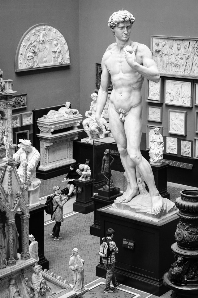 Plater cast of Michaelangelo's David, at the V&A Museum.