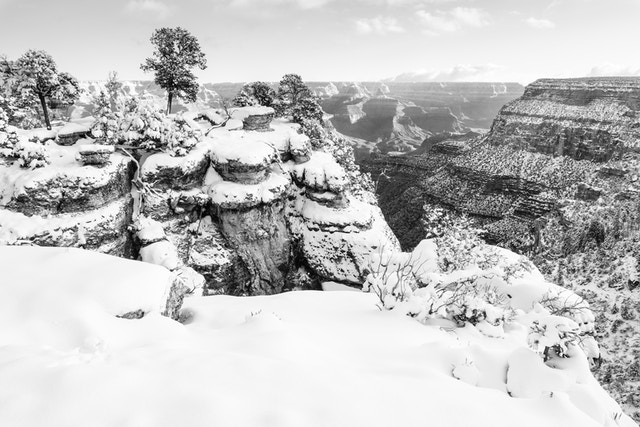 The South Rim near Trail View Point, covered in snow.