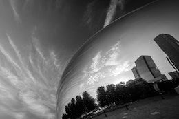 Sunrise reflected off of Cloud Gate in Millennium Park in Chicago.