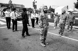Sikh soldiers in formation at the National Mall.