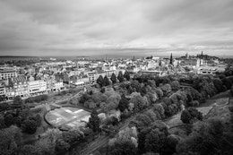 View of Edinburgh from the ramparts of Edinburgh Castle.