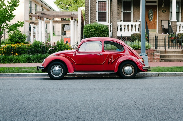 A red Volkswagen Beetle in Capitol Hill, Washington, DC.