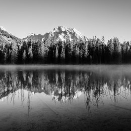 Mount Moran, behind a line of trees, reflected in the waters of String Lake.