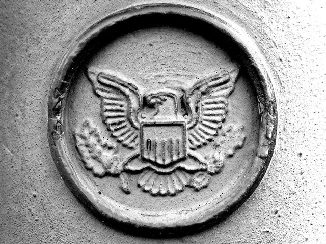 A detail of the relief seen on the posts that prevent cars from getting on the pedestrian walkways at the Capitol building.