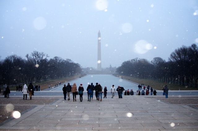 The Washington Monument seen from the Lincoln Memorial just as it started to snow.