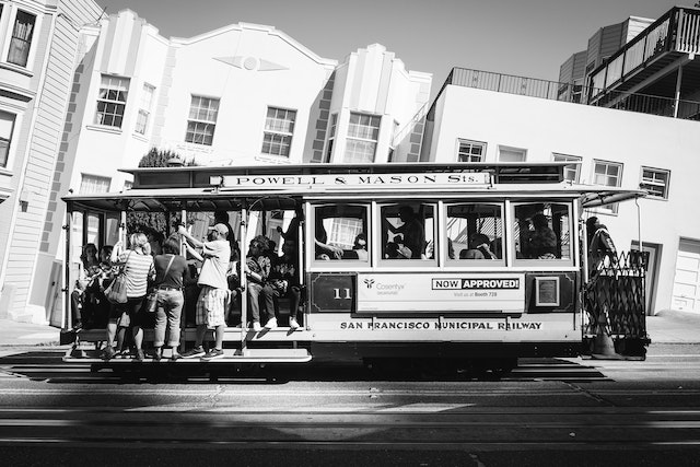 A San Francisco cable car on Mason Street.