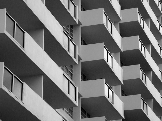 Balconies on a building in Miami Beach.