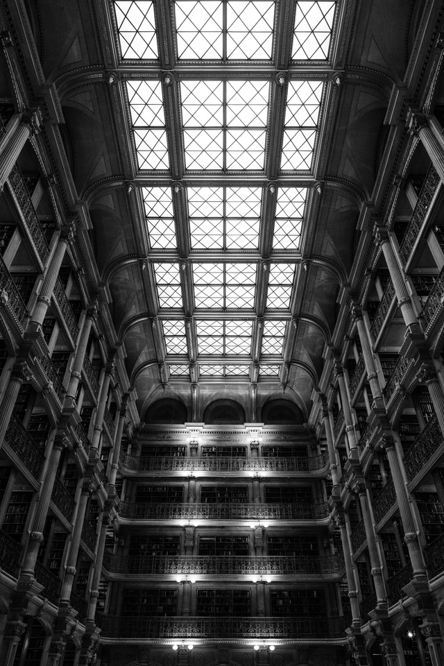 Looking up at the ceiling of the George Peabody Library in Baltimore, Maryland.