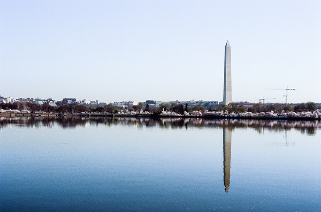 The Washington Monument reflected off the Tidal Basin.