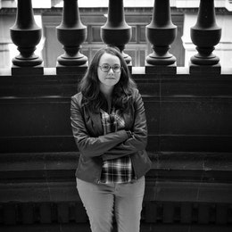 Kate, at the main stairway of the National Museum of Art in Mexico City.