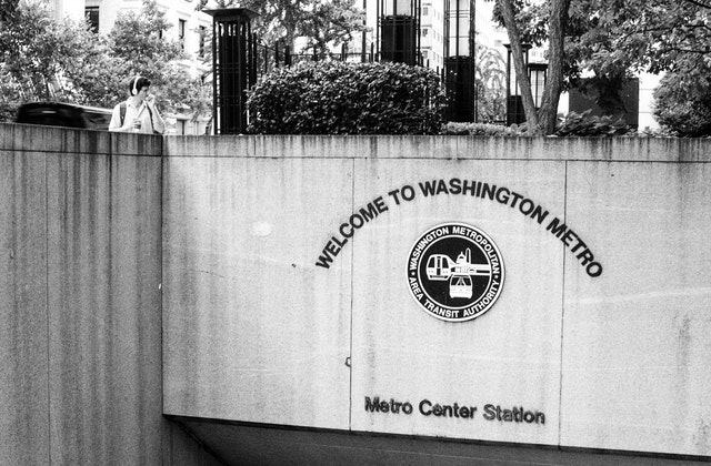 The entrance to the Metro Center Metro Station in downtown Washington, DC.