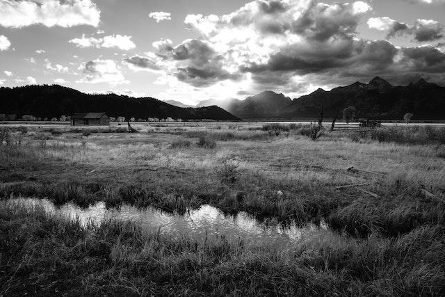 Antelope Flats near Mormon Row, looking towards Blacktail Butte at sunset.