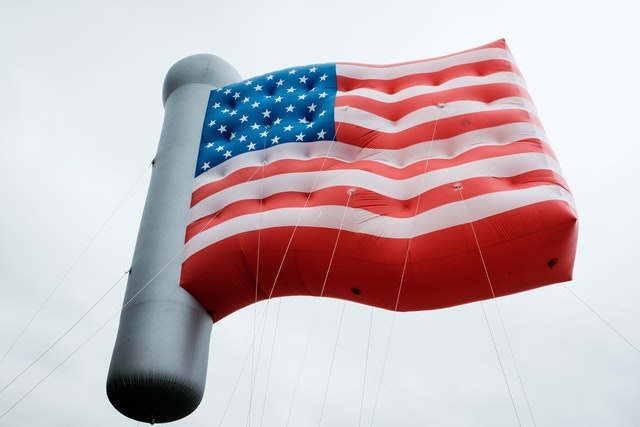 An enormous inflatable American flag.