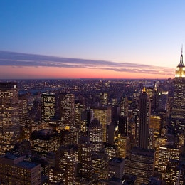 The New York skyline at dusk, from the Top of the Rock.