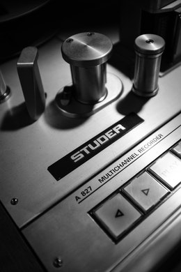 Close-up of a Studer recorder at London Bridge Studio in Shoreline, Washington.