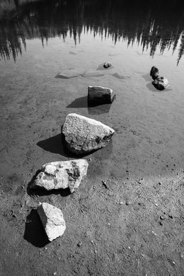 A row of four rocks in the waters of Shadow Lake in Mount Rainier National Park.