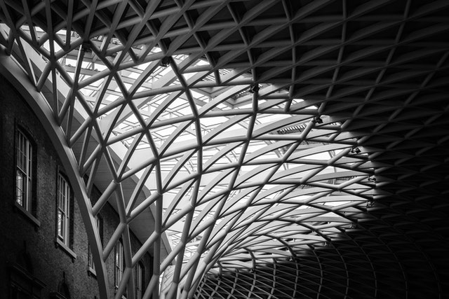 The roof of the departures concourse of King's Cross.