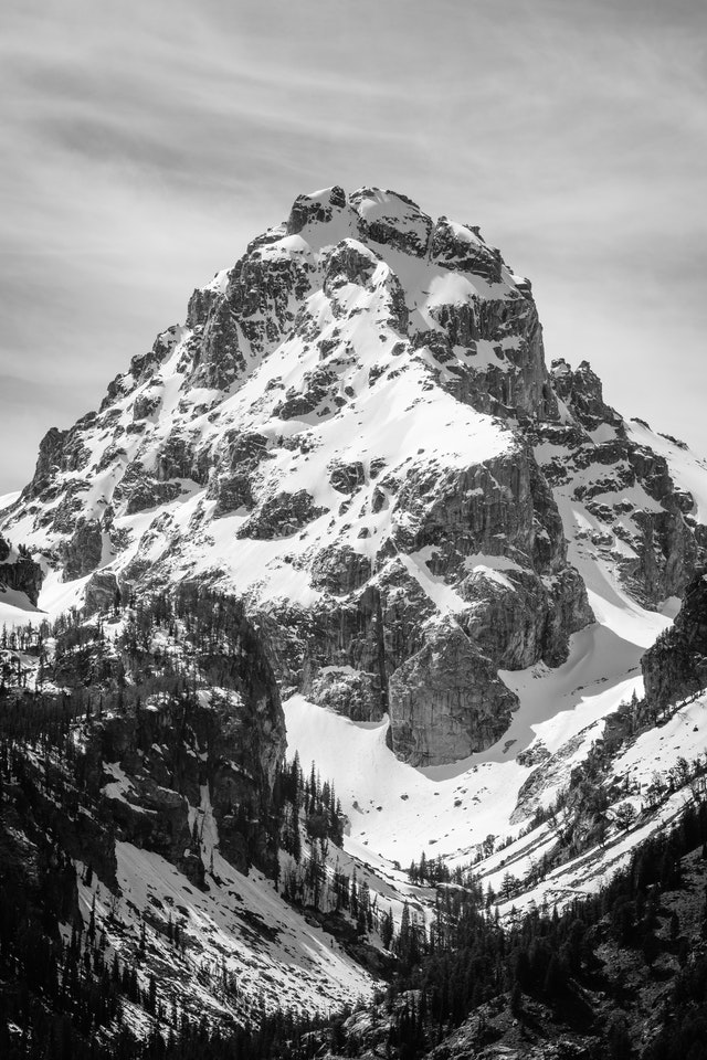 Middle Teton, covered in snow in mid-May, seen from the Teton Glacier Turnout.