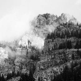The rocky walks of Death Canyon, shrouded in clouds.