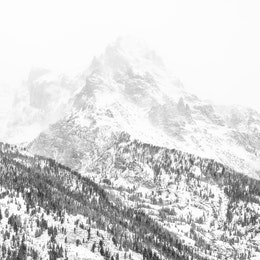 Teewinot Mountain, covered in snow, and engulfed in a snowstorm.
