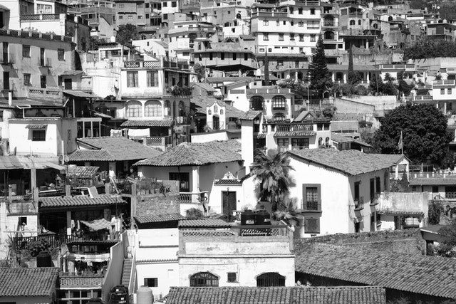 Close up of houses in Taxco, Mexico.