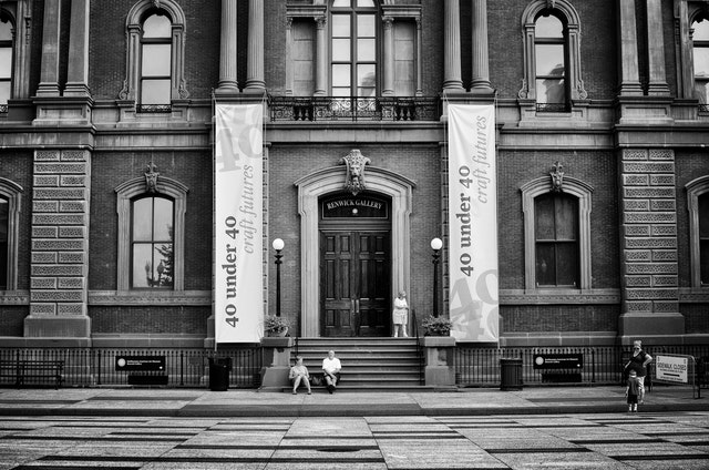 The front entrance of the Renwick Gallery.