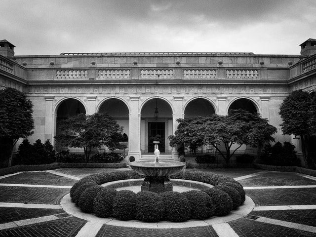 The courtyard of the Freer Gallery of Art, Washington, DC.