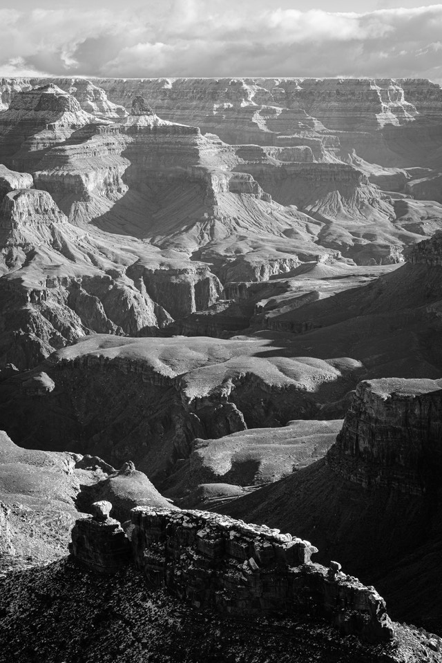 The North Rim of the Grand Canyon, seen from Maricopa Point. The Battleship can be seen at the bottom of the frame.