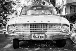 An old car in Condesa, Mexico City.