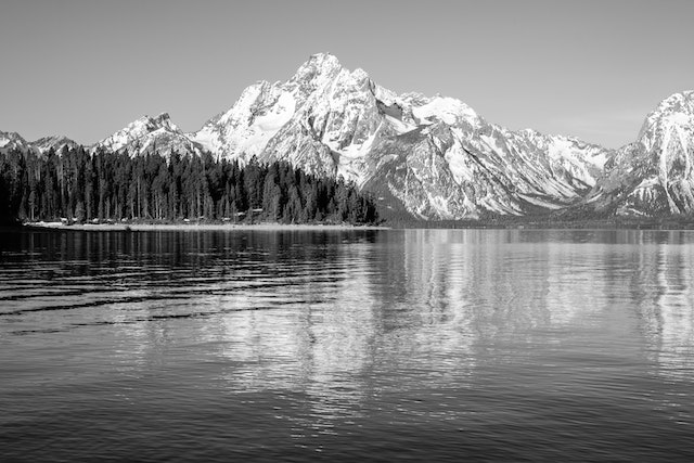 Mount Moran, reflected in the waters of Jackson Lake, from Colter Bay.