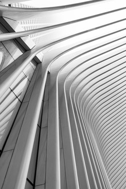 Looking up at the arching ribs of the Oculus in New York City.