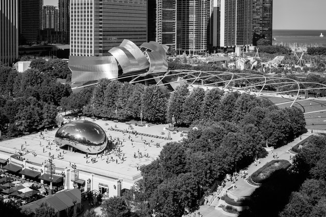 View of Cloud Gate from Cindy's Rooftop.