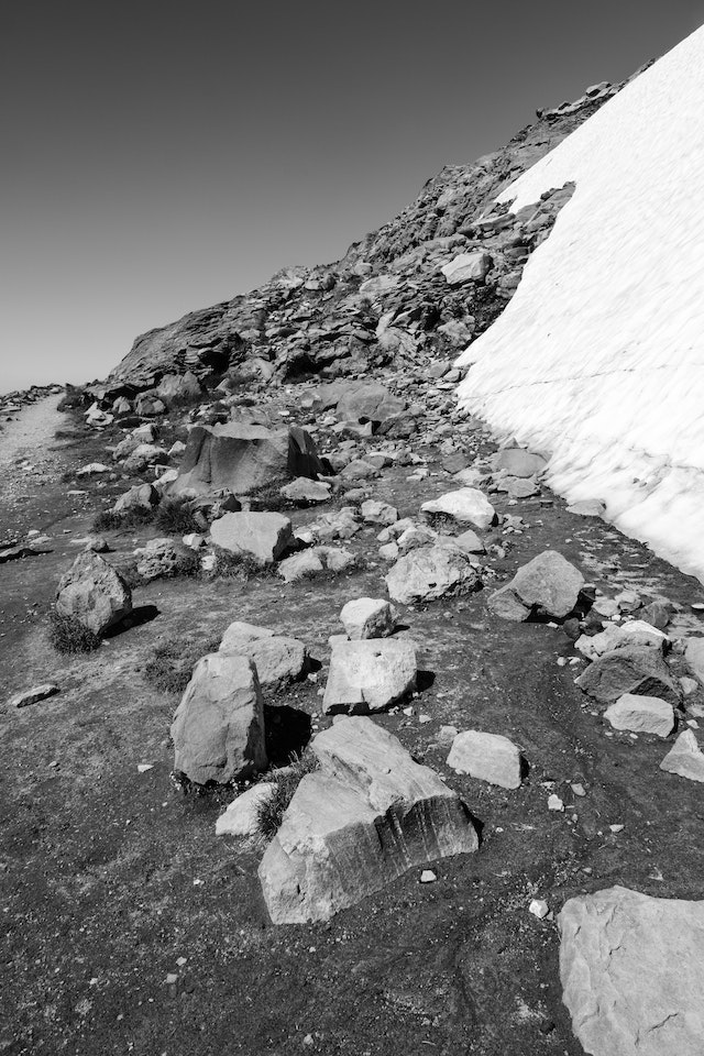 A big chunk of glacier next to boulders near the top of the Skyline Trail in Mount Rainier National Park.