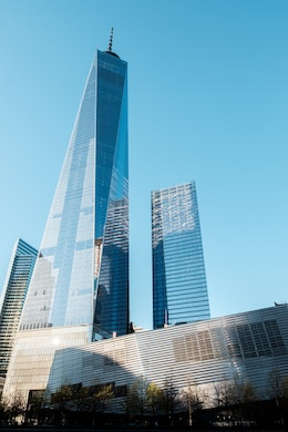 One World Trade Center and the World Trade Center museum, from the Memorial.