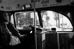 View from the front of a streetcar at the Embarcadero, San Francisco.