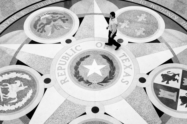 The floor of the rotunda of the Texas State Capitol.