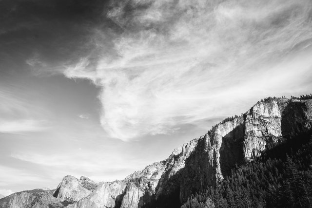 The sky over Yosemite National Park, from the Tunnel View overlook.