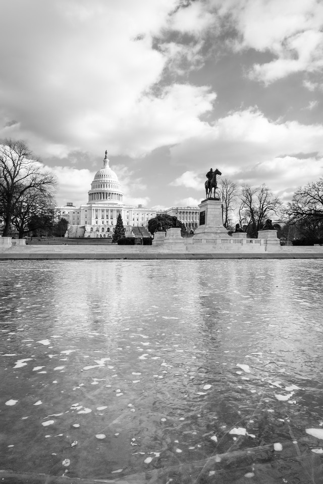 The Ulysses S. Grant Memorial and the United States Capitol, in front of a very frozen reflecting pool.