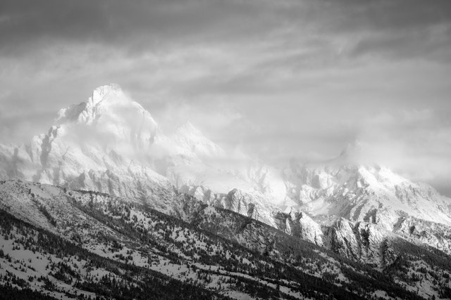 The Tetons in winter, at dawn.