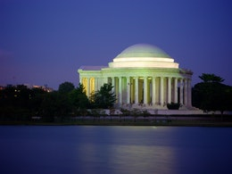 The Jefferson Memorial at dusk.