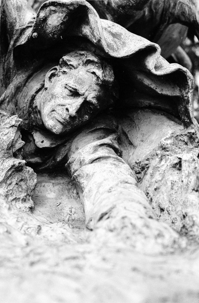 Detail of one of the statues at the U.S. Grant Memorial in Washington, DC, which shows a soldier fallen on the ground.