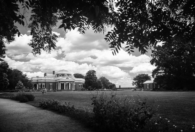 Thomas Jefferson's Monticello, in Virginia, framed by trees.
