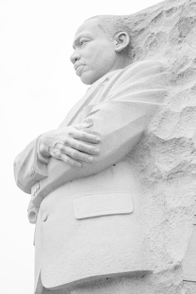 The sculpture of Martin Luther King Jr. at the MLK Memorial in Washington, DC.