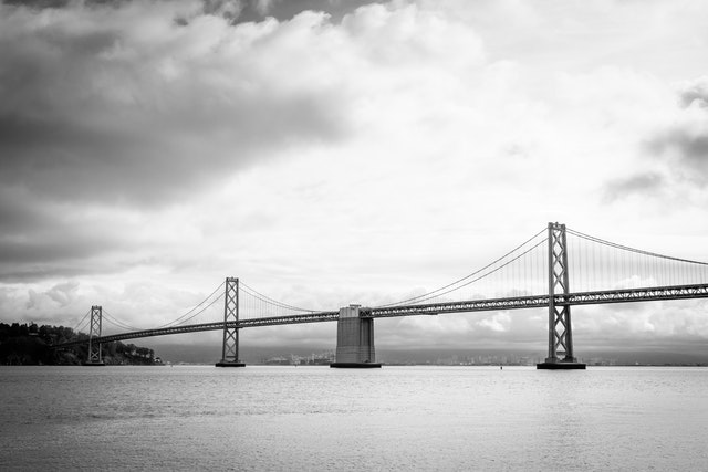 The San Francisco-Oakland Bay Bridge from the Ferry Terminal.